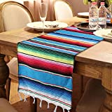 OurWarm 14in x 84in Mexican Serape Table Runner for Mexican Party Wedding Decorations, Fringe Cotton Table Runner, Coloful Striped Mexican Table Runner Outdoor Picnic Decorative