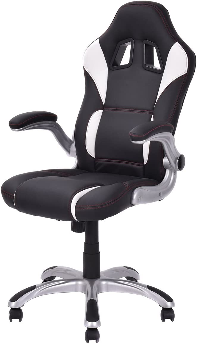 Giantex Racing Style Gaming Chair with Adjustable Armrest High Back Office Chair Computer Desk Task Chair Black White
