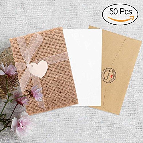 AerWo 50Pcs Burlap Rustic Wedding Invitations Cards, Vintage Wedding Invitation with Envelopes Kit for Wedding Bridal Shower Baby Shower Engagement Invitation