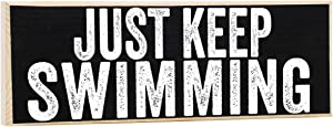 Make Em Laugh Just Keep Swimming - Rustic Wooden Sign-Great Gift and Decor for Swimming Pool, Beach and Lake House Under $15