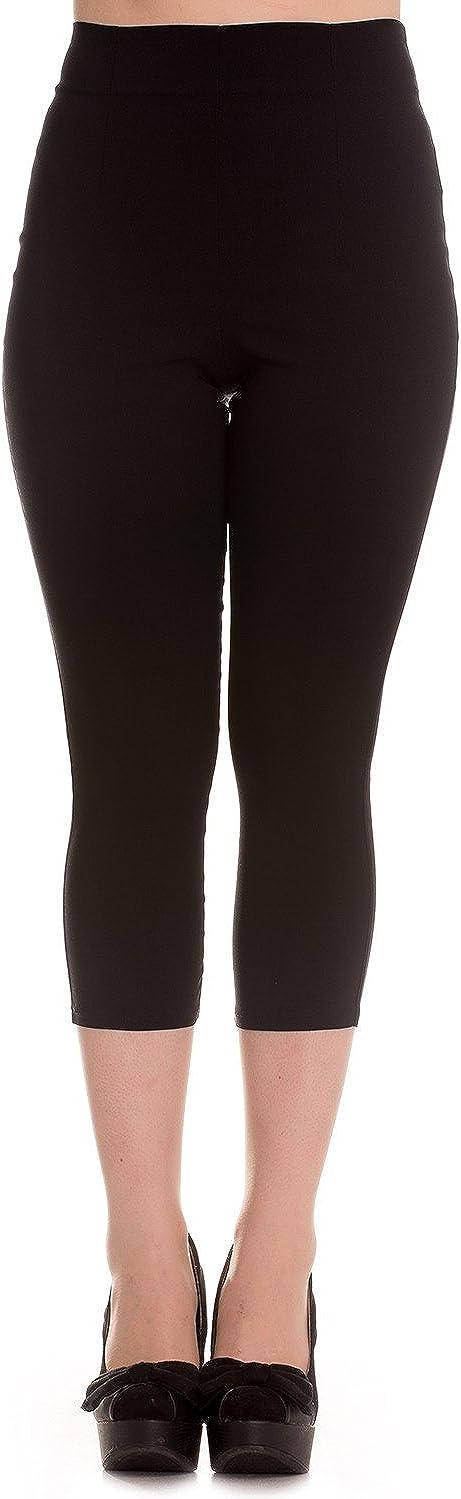1950s Pants & Jeans- High Waist, Wide Leg, Capri, Pedal Pushers Hell Bunny Tina Capris Black Pants Pedal Pushers Rockabilly Retro Inspired  AT vintagedancer.com