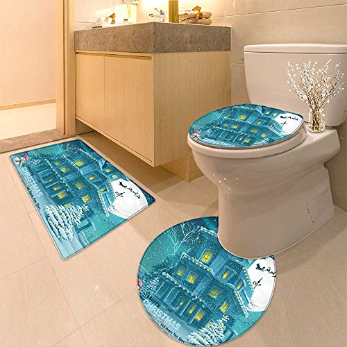 h mat set and Ne Year greeting card with the image of a winter night with and trees Very Absorbent Bathroom Bath Mat Contour Rug (Winter Greetings Bath)