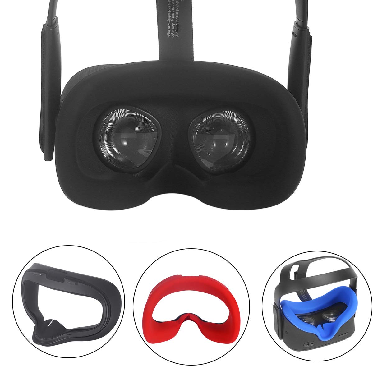Esimen VR Face Silicone Mask & Face Cover for Oculus Quest Face Pad Cushion Sweatproof Lightproof (Black)