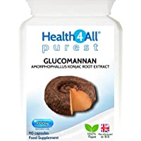 Glucomannan 1000mg 90 Capsules (V) | 1 Month Supply | Purest: no additives | Appetite Suppression | Weight Loss Dietary Fibre from konjac Plant | 100% Vegan | Health4All