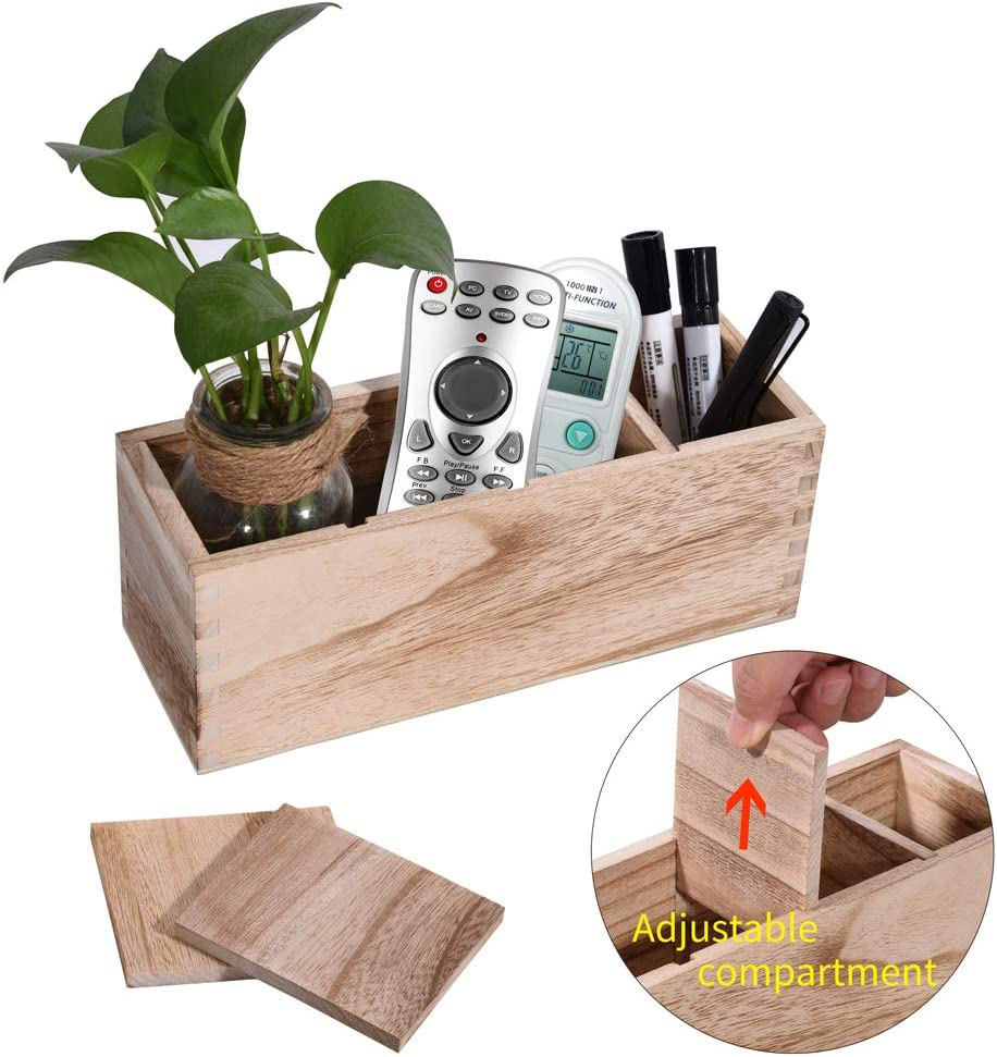Wooden Remote Control Holder, Caddy, Organizer,Desktop Storage with 4 Adjustable Smart Compartments, Multiuse for Store TV Remotes, Game Console, Phones,Pens, Pencils, Office Supplie
