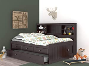 Discovery World Furniture Full Bookcase Daybed with 3 Drawers & Trundle Espresso
