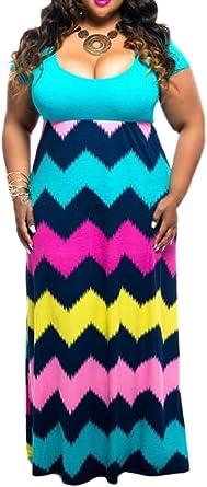 Linsery Women\'s Plus Size Scoop Neck Chevron Zig Zag Floor Maxi Dress
