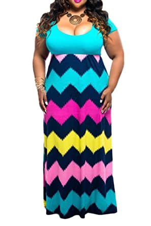 148c996d88a4d Linsery Women's Plus Size Scoop Neck Tank Top Chevron Zig Zag Stripe Maxi  Dress (XL