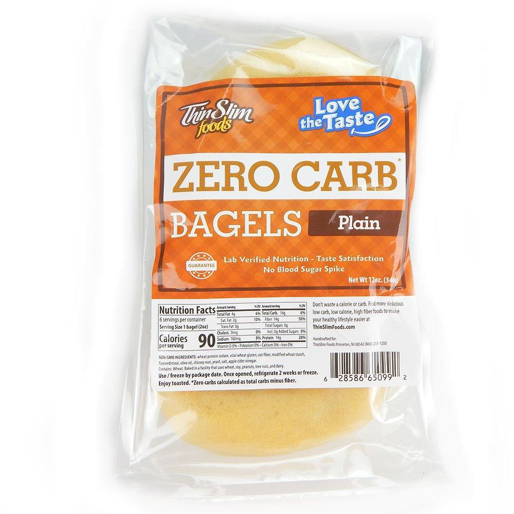ThinSlim Foods 90 Calorie, 0g Net Carb, Love The Taste Low Carb Plain Bagels