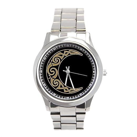 momoc mejor reloj de pulsera marcas media luna luna inoxidable Relojes: Amazon.es: Relojes