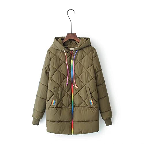 MEI&S Invierno mujer gruesa capa Cotton-Padded suelto encapuchado abrigo largo abrigo guateado c...