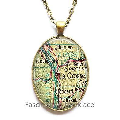 Amazon Com Charming Necklace La Crosse Wisconsin Map Necklace