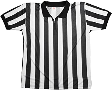 Crown Sporting Goods Men's Official Black & White Stripe Referee / Umpire Jersey – Pro-style Ref Uniform, Great for Basketball, Football, & Soccer