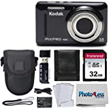 Kodak PIXPRO FZ53 16.15MP Digital Camera (Black) + Black Point & Shoot Case + Transcend 32GB UHS-I U1 SD Memory Card & More!