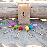 balance spoon - Set of 6   Be Mindful Wood Egg and Spoon Race Game   Set of 6 Eggs and 6 Spoon Game   Includes Storage Bag perfect as a Birthday Party Game or Outdoor games