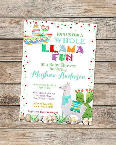 Llama Baby Shower Invitations Fiesta Baby Shower Invitations Mexican Theme Baby Shower Invitations Llama Theme Shower Invitation