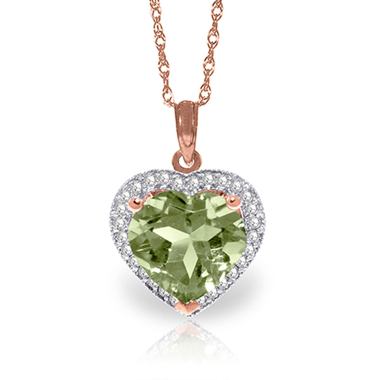 ALARRI 3.39 Carat 14K Solid Rose Gold Elizabeth Green Amethyst Diamond Necklace with 20 Inch Chain Length