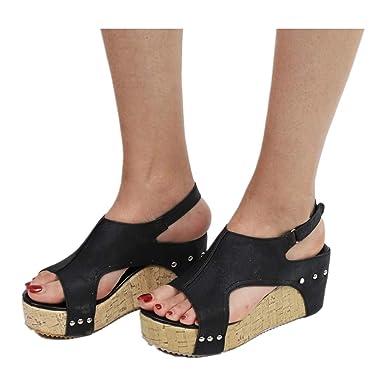 2989fa3bda42ed Roman Sandals Women Summer Round Toe Breathable Rivet Beach Sandals Boho  Casual Wedges Shoes (US