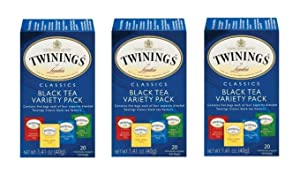 Twinings Variety Pack of Four Flavors, Tea Bags, 20-Count - Pack of 3