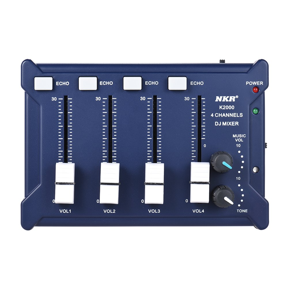 ammoon Mini Pocket 4-Channel mono Stereo Audio DJ Sound Mixer USB Powered BT Connecting Mobile Phone Blue