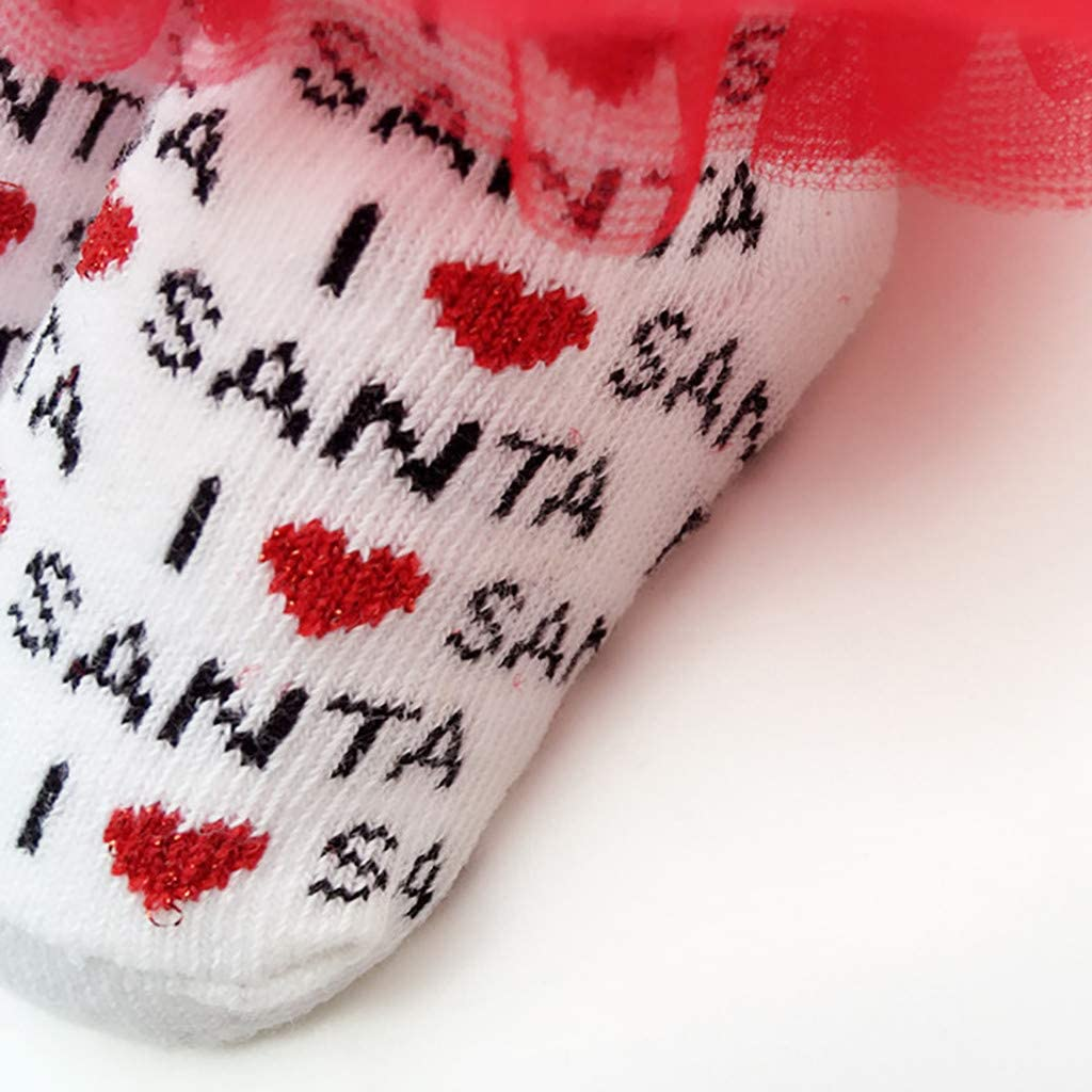 Vinjeely Baby Girls Socks Mesh Lace Christmas Cute Princess Bow Baby Socks