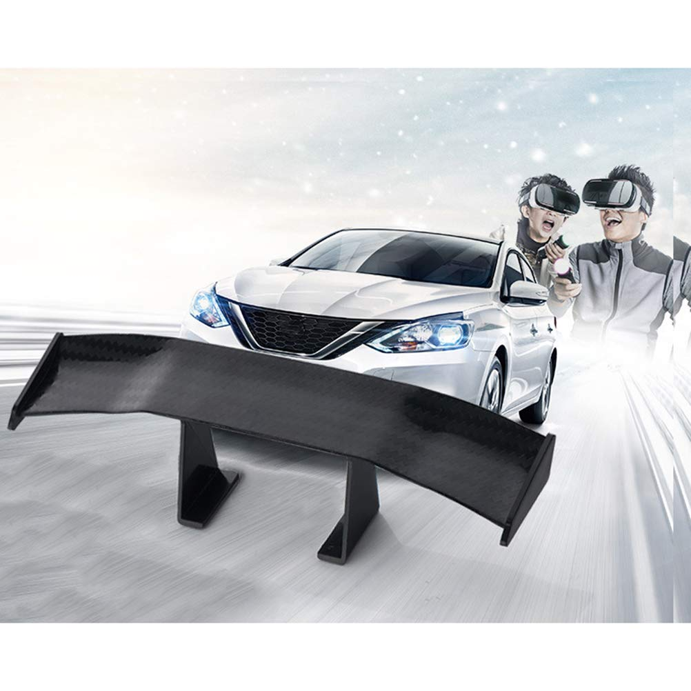 Kayueti 2 Pcs Universal Car Mini Spoiler Wing Small Model Carbon Fiber Auto Car Tail Decoration Spoiler Wing Accessories Car-Styling