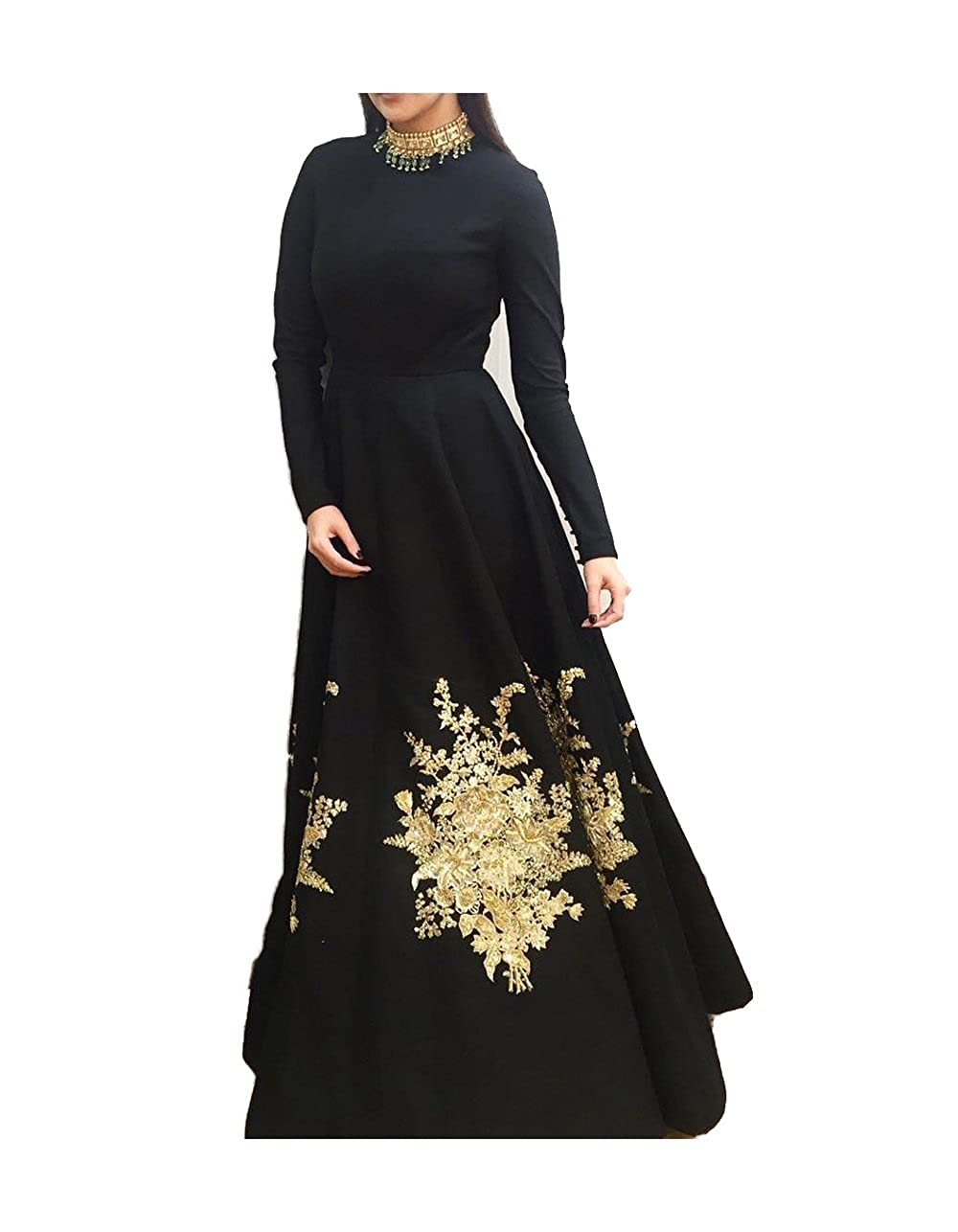 Royal Export Women's A-Line Black Georgette Gown (Anushka Gown_Black_Free)
