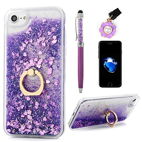 iPhone 8 Case, iPhone 7 Case, Flowing Liquid Floating Bling Glitter Kickstand Cover Shell PC Back 360 Rotating Ring Holder Shockproof TPU Frame Protective Skin for iPhone 7/8 by Badalink - Purple