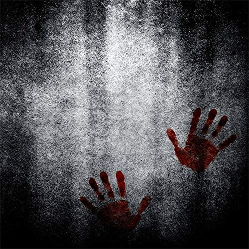 (AOFOTO 6x6ft Halloween Theme Backdrop Horror Bloody Hands Print Grunge Wall Photography Background Kids Adults Peformance Decor Trick or Treat Customized Vinyl Photo Backcloth)