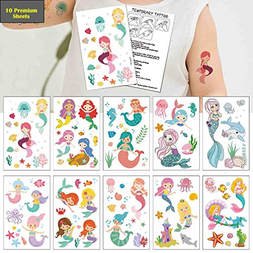 - Mermaid Temporary Tattoos(80 designs) - COKOHAPPY Fake Mermaid Assorted Temporary Tattoos For Kids Children Girls Birthday Party Favors Supplies Party Accessories