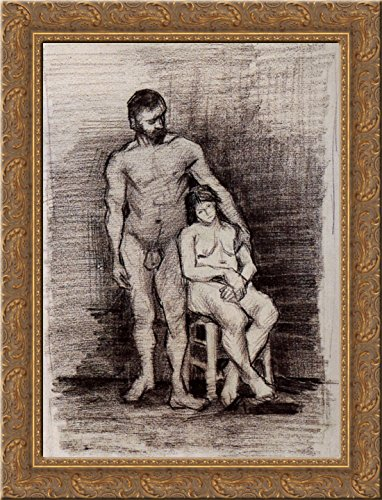 Standing Male and Seated Female Nudes 24x18 Gold Ornate Wood Framed Canvas Art by Vincent van Gogh