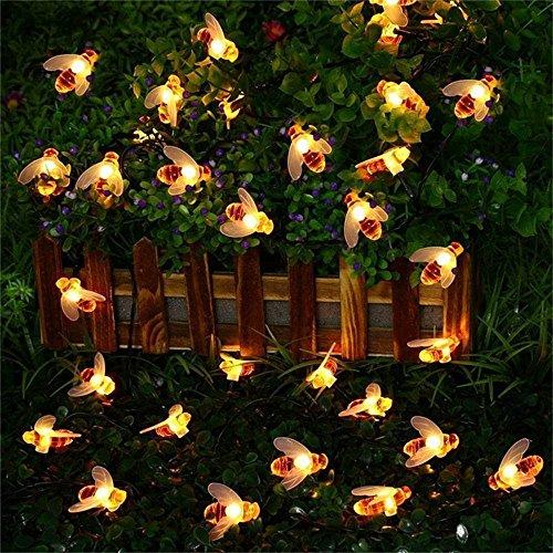 Maikouhai LED String Light, Waterproof 30 LED Solar String Honey Bee Shape Warm Light Garden Decoration Light Nightlight Lamp for Path, Garden Pathway, Kids' Room - Charge 7-9 Hours, Use - Solar Rings Plant Light