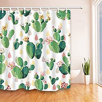 nymb prickly pattern cactus flowers bath curtain 69x70 inches mildew resistant polyester fabric shower curtain set