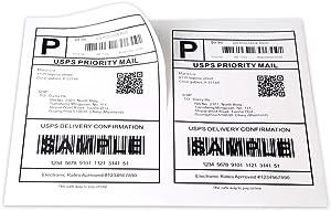 "[500 Sheets; 1000 Labels] Half Sheet Self Adhesive Shipping Labels for Laser & Inkjet Printers, 5-1/2"" X 8-1/2"""