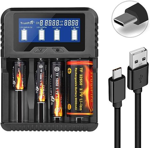 Amazon.com: TrustFire 18650 QC 3.0 Cargador de batería ...