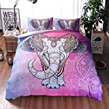 Pink Vintage Elephant Bohemian Cotton Microfiber 3pc 104''x90'' Bedding Quilt Duvet Cover Sets 2 Pillow Cases King Size