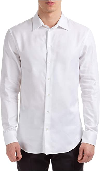 Emporio Armani - Camisa para hombre, color blanco Fancy White 40 cm: Amazon.es: Ropa y accesorios