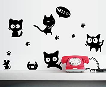 ... gatos negros y de ratón pegatinas de pared para el dormitorio de la sala del ordenador portátil Refrigerador Copa de fondo Decoración Mural Sticker ...