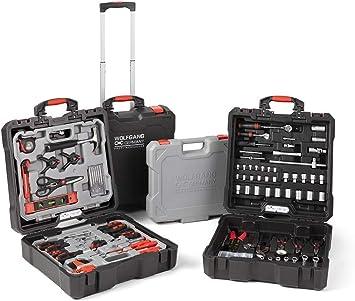 WOLFGANG Caja de herramientas completa de 400 piezas, Carro de herramientas con ruedas, llave inglesa, destornillador, juego de brocas, martillo, alicates: Amazon.es: Bricolaje y herramientas