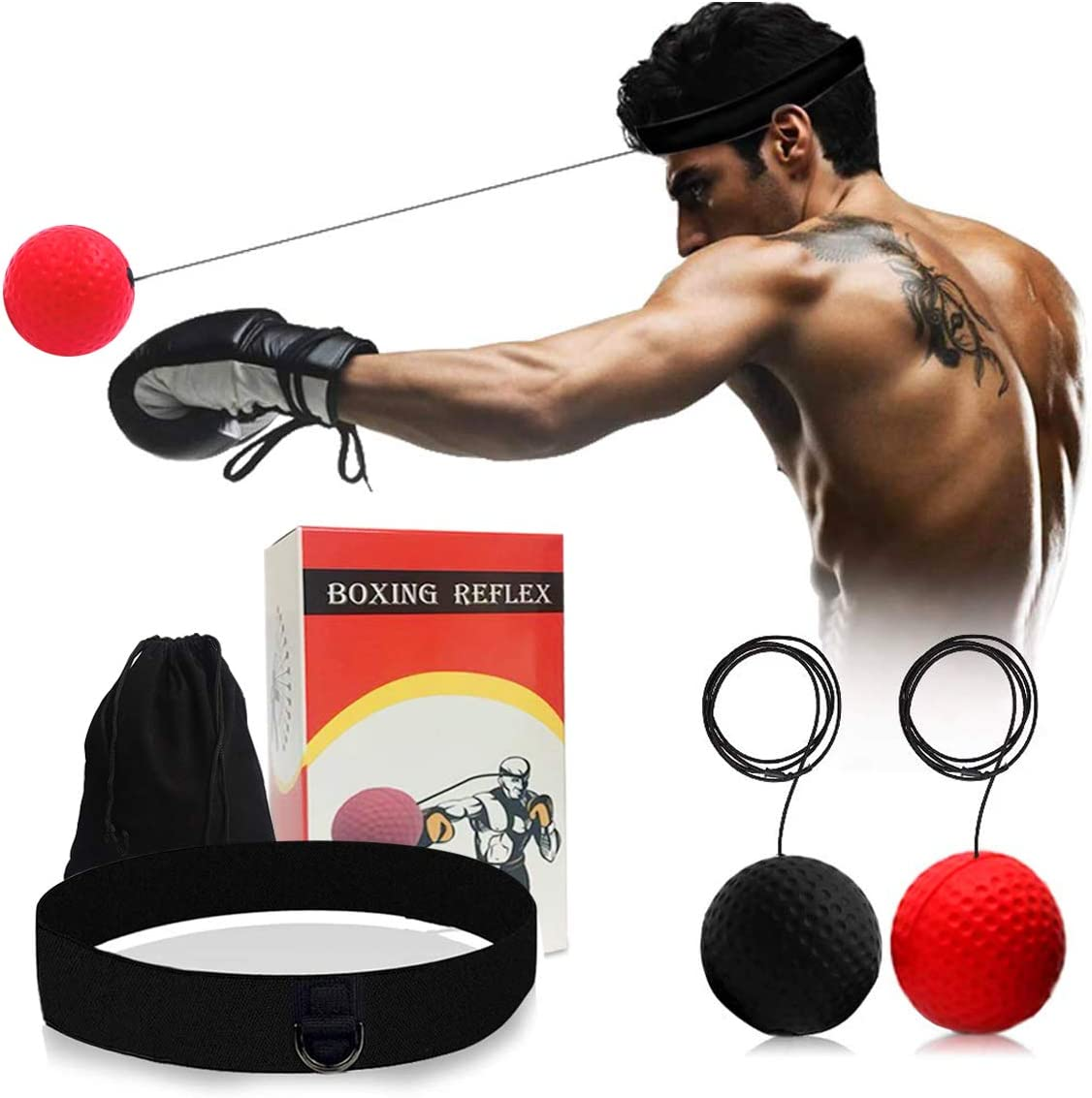 Fight Ball Reflex Boxing Trainer Training Speed Punch Head Band String Balls