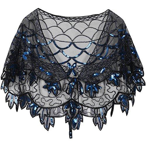PrettyGuide Women's 1920s Shawl Beaded Vintage Bolero Flapper Evening Wraps Black Blue -