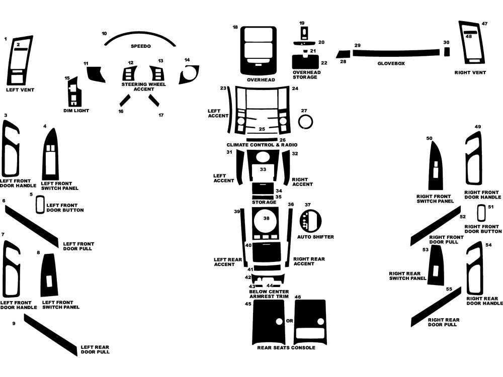Rdash Dash Kit Decal Trim for Infiniti FX35 / FX45 2006-2008 - Wood Grain (Burlwood Dark) Rvinyl