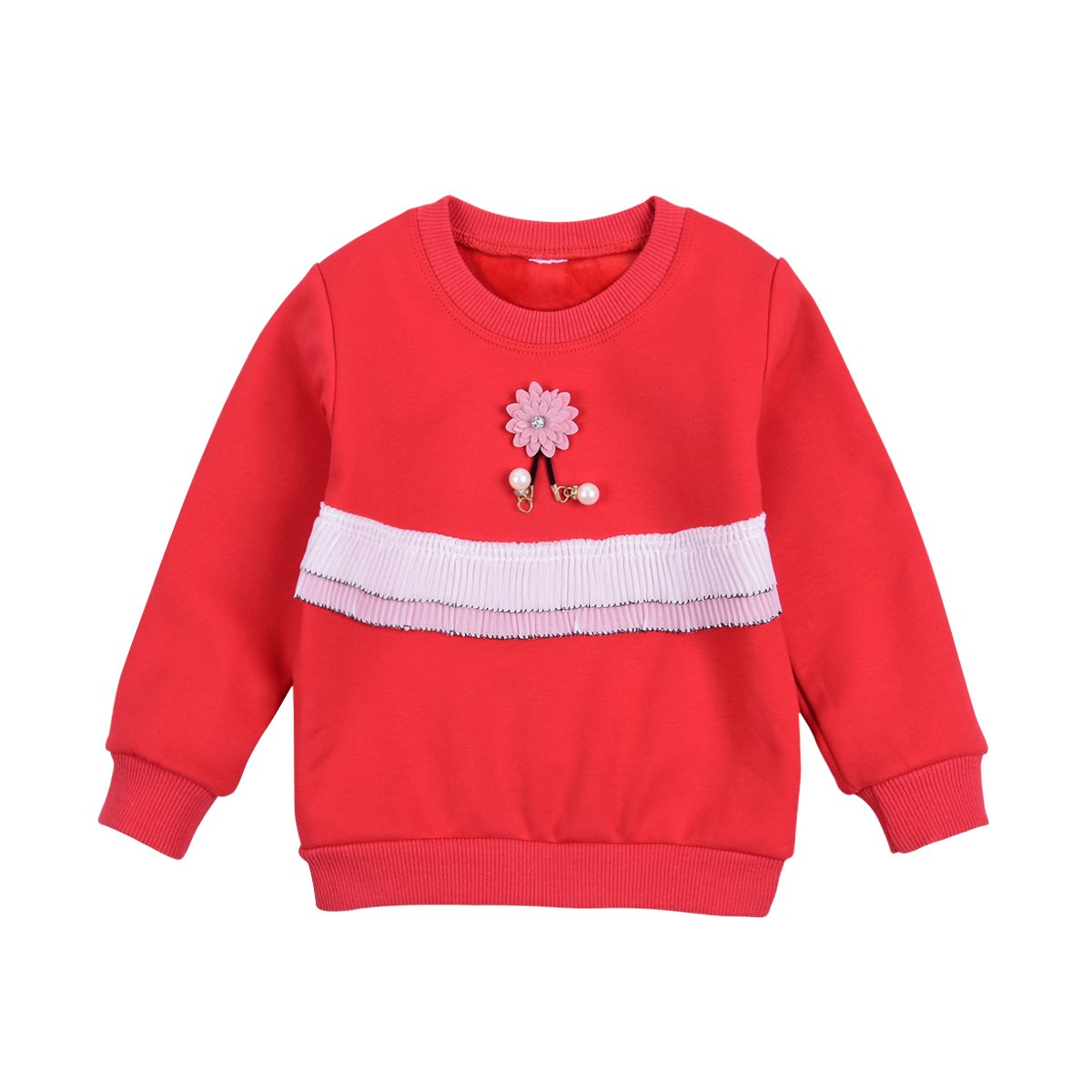 Crewneck Sweatshirt Toddler Baby Girl Solid Fleece Pullover Shirt Kids Clothes for 1-5Years