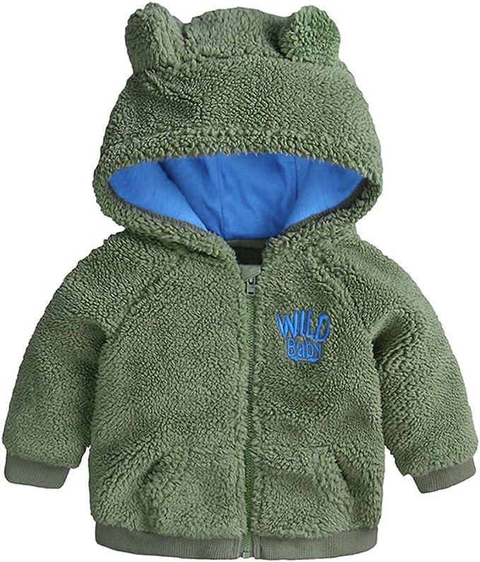 WARMWORD Infant Baby Boys Girls Fleece Ears Hat with Lined Hooded Zipper Up Jacket Coat Tops Outwear Overcoat Warm Fall Winter