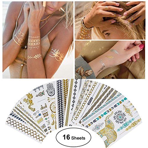 (TBJSM Waterproof Metallic Temporary Tattoo 16sheets in Gold Silver Sticker Body Fake Jewelry Tattoos Over 200 designs for Women Teens Girls Body Art)