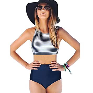 2cfef69eac08 Pañal para baño, honestyi [2 piezas] - Bañador para mujer Bikini talla alta  traje de baño banda, color azul L: Amazon.es: Oficina y papelería