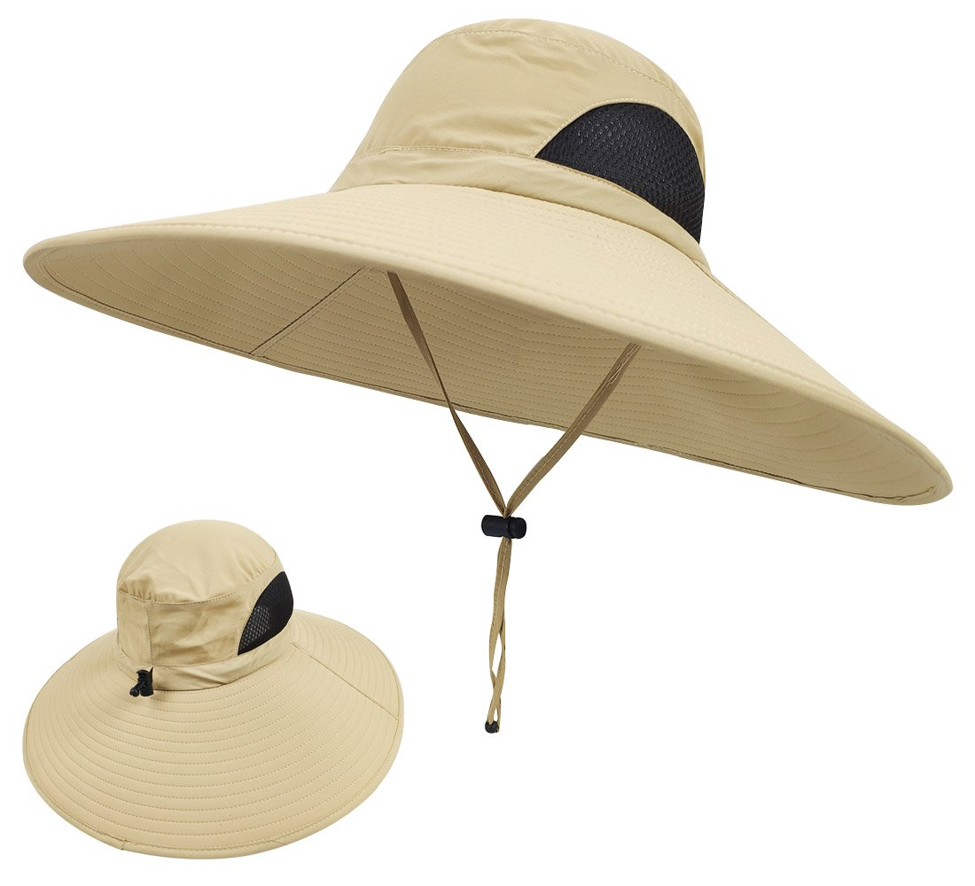 3b2de7ae Amazon.com : LETHMIK Wide Brim Boonie Hat, Waterproof Sun Protection  Outdoor Oversized Brim Hat for Men&Women, for Fishing, Hiking, Camping, ...