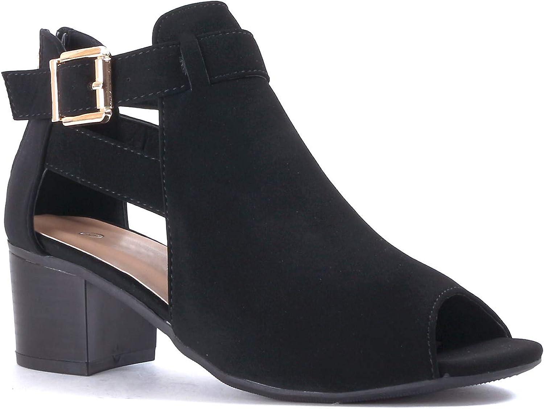 Details about  /Guilty Heart Women Comfortable Low Block Heel Sandal Cut Out Gladiator Walking
