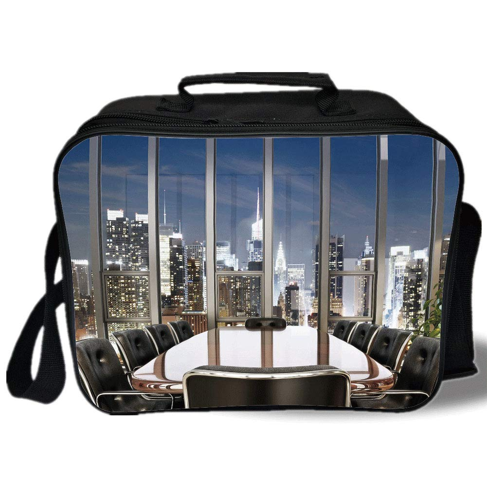 Insulated Lunch Bag,Modern Decor,Business Office Conference Room Table Chairs City View at Dusk Realistic,Grey Black Blue,for Work/School/Picnic, Grey