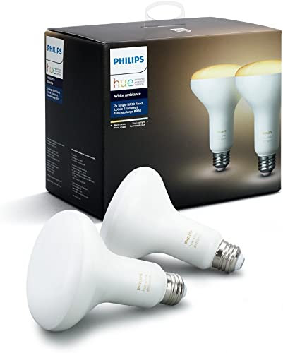 Philips Hue White Ambiance BR30 2-Pack 60W Equivalent Dimmable LED Smart Flood Light Hue Hub Required